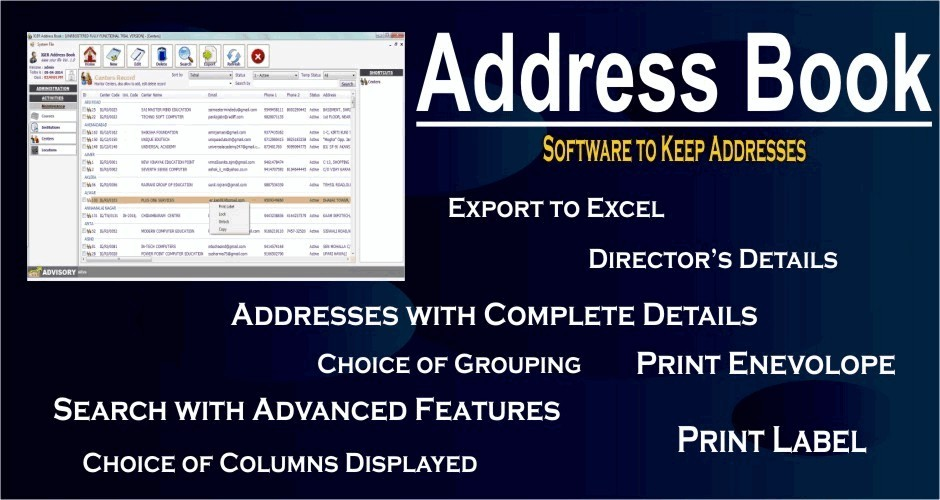 Address Book (Software to Keep Addresses)