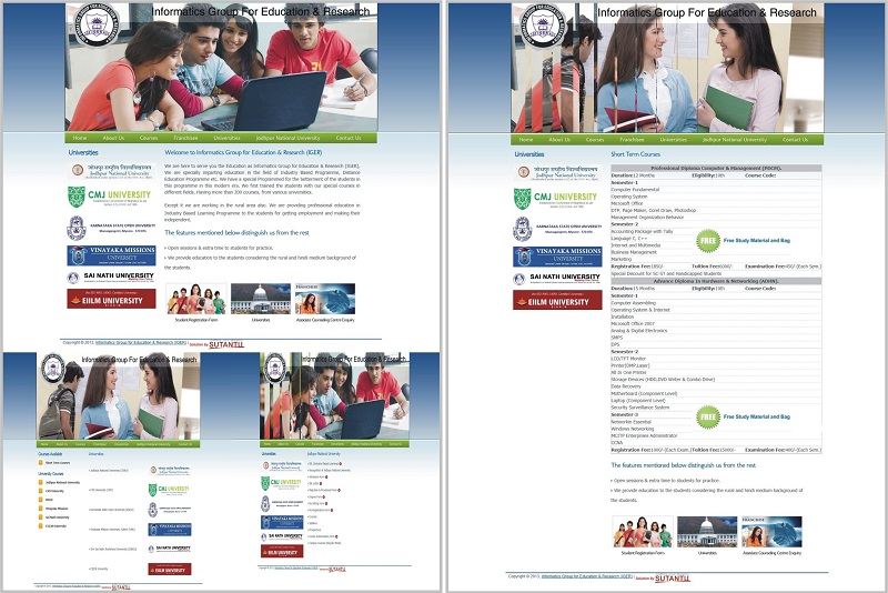 Website for Informatics Group For Education & Research (IGER) - www.igerindia.org